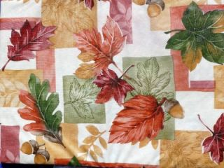 "Thanksgiving Autumn Fall Leaves Vinyl Tablecloth Flannel Back 52 x 70"" Oblong"