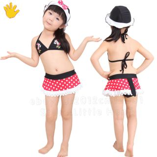 Kids Girls White Dot Bikini Tail Swimsuit Swimwear Bathing Suit Bow Cap 2 7 Y
