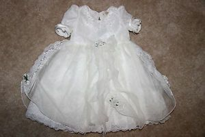 Baby Infants Wedding Pech Dress White Party 1 2 Year Old $245