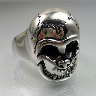 Cool Biker Mens Stainless Steel Baby Face Cracked Skull Ring