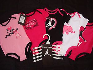 Nike Air Jordan Baby Girl Bodysuit Shirt Clothes Lot 5 PC 0 3M $60 New 00 New
