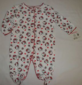 New Hello Kitty Sanrio Baby Girl Bodysuit Romper Clothes Set Sz 0 3M Newborn