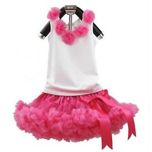 2pcs Toddler Kid Baby Girl Top Pettiskirt Tutu Dress Outfit Clothes 0 12M Pink
