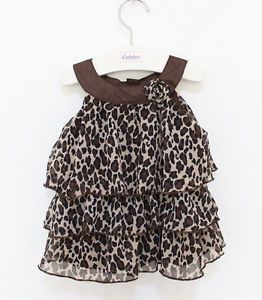 1pc Baby Kid Toddler Girl Chiffon Dress Outfit Clothes Top Tutu Leopard 12 18M