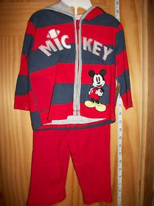 New Disney Baby Clothes 6 9M Mickey Mouse Hoodie Set Red Newborn Pant Oufit