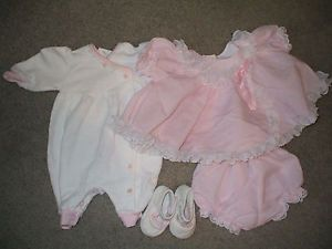 Lot of Preemie Baby Girl Clothes Dress One Piece Shoes