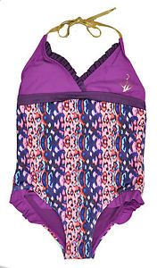 Baby Phat Big Girls Purple Multi Color 1pc Swim Suit Size 7 8 10 12 14 16 $36