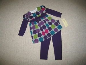"New ""Purple Gray Polka Dot"" Pant Girls Clothes 2T Fall Winter Boutique Toddler"
