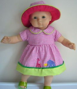 Doll Clothes Fits Bitty Baby Gingham Dress Hat Ruffle Panties Set Animals