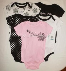 Calvin Klein Jeans Baby Girl Bodysuits Shirt Clothes Lot Set Sz 3 6M 6 Month
