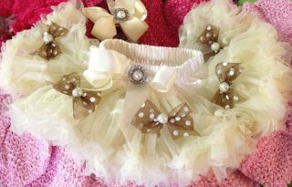 Pettiskirt Skirt Supreme Soft Baby Girl Ivory Skirt Brown Bow Hair Bow Band