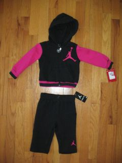 Nike Air Jordan Baby Girls 2pc BL Hoodie and Pant Outfit Set Size 6 9M