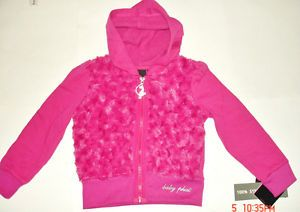 Baby Phat Little Girl Faux Fur Fleece Zip Hoodie Jacket Size 4 Magenta $42