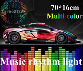 Car Sticker Music Rhythm LED Flash Light Lamp Sound Activated Equalizer 70x16cm