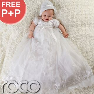 Baby Girls White Dress Traditional Baptism Gown Christening Dresses 0 12M