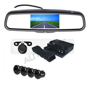 "5"" Universal Car Rear View Parking Mirror Monitor 2 Way Camera Display 4SENSORS"