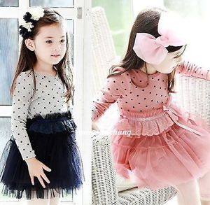 1pc Baby Girl Toddler Long Sleeve Polka Dot Party Gauze Dress Tutu Skirt