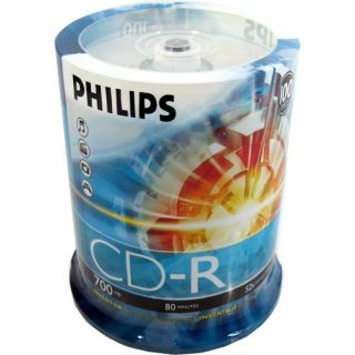 100 Philips 52x Logo CD R CDR Blank Disc 80min 700MB in Cake Box
