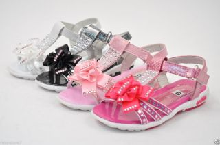 Kids Girls Toddler Sandals Shoes Rhinestones Flowers Velcro Open Toe Sizes A
