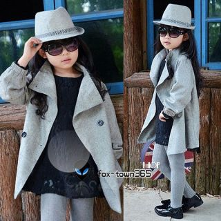 Autumn Toddlers Kids Girls Child Princess Lace Neck Coat Jackets Overcoat 3 9Y