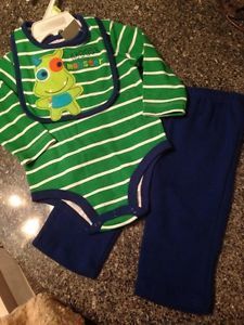 Newborn Baby Boys Clothes Size 0 3 Months Mommys Lil Monster Pant Top Bib