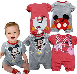 Baby Boys Girls Mickey Minnie Casual Romper Pants Bodysuit Jumpsuits Clothes