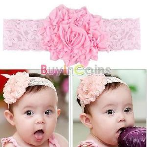 Baby Toddler Kids Children Girls Elasticity Roses Flower Clothing Hair Headband