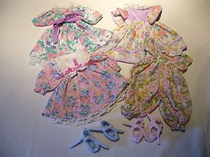 Mix Lot Vintage Baby Doll Clothing 4 Outfits Gigo 2 Pairs of Shoes