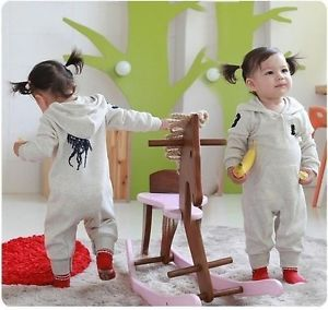 Boy's Gray Cotton Romper Cute Coverall Baby Toddler Clothes for 6 12months C56