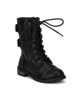 Link Mango 61K New PU Lace Up Zipper Buckle Military Combat Boot Toddler Girl