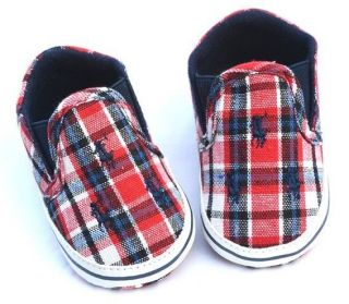 Baby Boy Red Blue Shoes Crib Shoes Toddler Sneakers Size Newborn to 18 Months