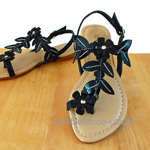 Baby Toddler Black Gladiator Dress Beach Sandal Shoes Girl's Size 9 10 11