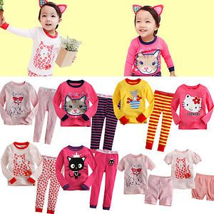 "Baby Toddler Kid Girl Clothes Cat T Shirt Sleepwear Pajama Set""Kitty Set"""