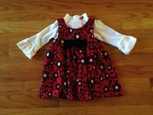 Newborn Baby Girls Red Flower Holiday Dress Christmas Winter Clothes 12 Months