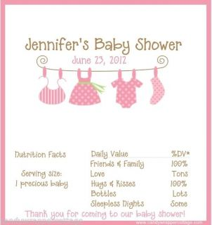 Clothes Line Onesie Personalized Baby Shower Candy Bar Wrappers Favors 3 Colors