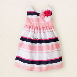 Korean Girl's Kids Cute Striped Sleeveless Flowers Party Dress Outfit Skirt ESY1
