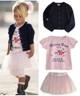3pcs Set Girls Kid Baby Clothing Skirt T Shirt Coat Pants Outfit Dress Outwear