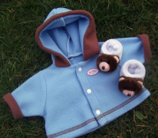 "Baby Born Boy Girl Blue Hoody Coat Teddy Shoes Zapf 16 17"" Doll Clothes"