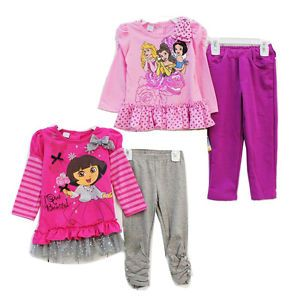 Girls Baby Clothes Long Sleeve Top Dress Pants Leggings Outfit 1 4Y Set Toddler