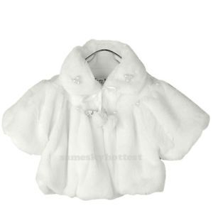 White Faux Fur Cape Wrap Jacket Coat Shrug Girls Baby Party Wedding for Age 1 3