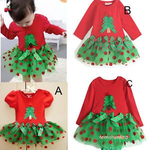 Baby Girls Kids Lovely Christmas Trees Xmas Holidays Tulle Ruffle Dress Gift