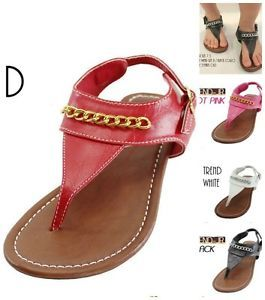 Kids Junior Girls Cute Chain Gladiator T Strap Thong Flat Sandals Shoes Trend Jr