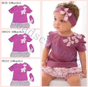 Suits Newborn Baby Girls Kids T Shirt Short Pants Headband Set Clothes Costume