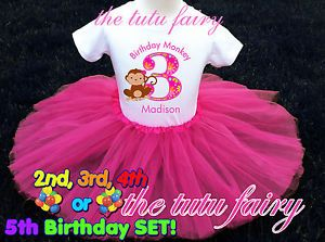 Monkey Love Birthday Party Girl Outfit Set Name Age 2T 3T 4T 5T T Shirt Shirt T