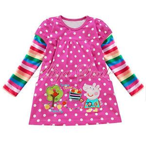 Baby Girls Pink Peppa Pig Polka Dots Top Dress T Shirt Clothing Sz 18 24 Months