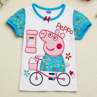 Cute Baby Girls Peppa Pig Short Sleeves Bow Bike T Shirt Tops Clothing 18M 6Y