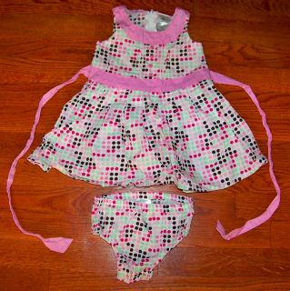 Girls Kid Zone 2pc White Pink Green Brown Sleeveless Polka Dot Dress 24 Months