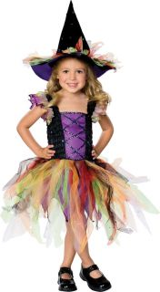 Girls Rainbow Witch Halloween Costume Childs Kids Princess Purple Fancy Dress