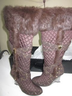 Baby Phat by Kimora Lee Simmons Brown Fur Boots 7 5 M 38 5