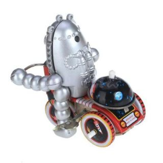 Wind Up Egg Shape Head Baby Robot on Space Trike Tricycle Toy Collectible Gifts